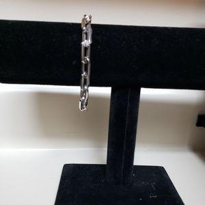 """Stainless Steel Oblong Link Bracelet,  8 1/2"""""""